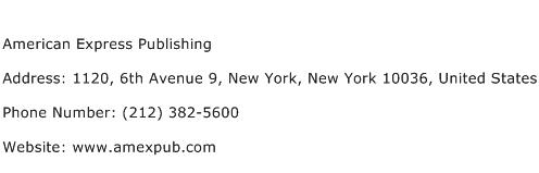 American Express Publishing Address Contact Number