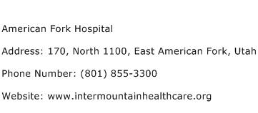 American Fork Hospital Address Contact Number