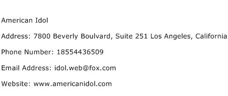 American Idol Address Contact Number