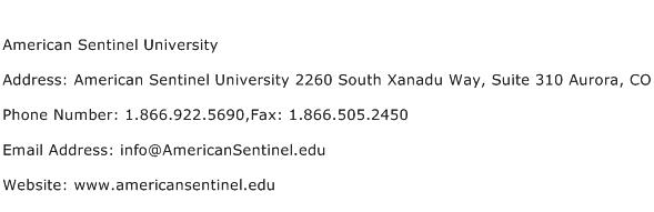 American Sentinel University Address Contact Number