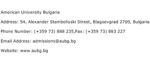 American University Bulgaria Address Contact Number