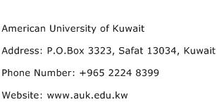 American University of Kuwait Address Contact Number