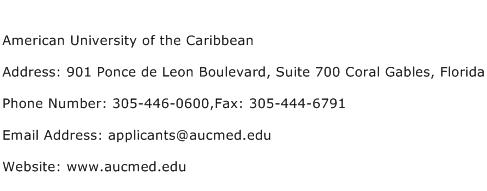 American University of the Caribbean Address Contact Number
