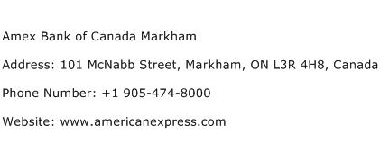 Amex Bank of Canada Markham Address Contact Number