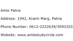 Amie Patna Address Contact Number