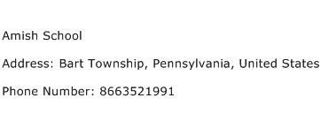 Amish School Address Contact Number
