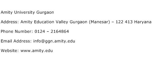 Amity University Gurgaon Address Contact Number