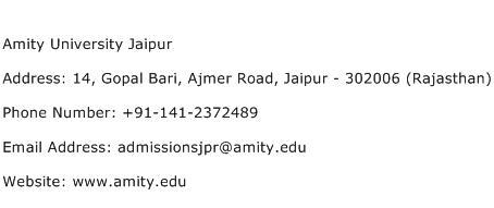 Amity University Jaipur Address Contact Number