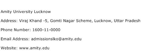 Amity University Lucknow Address Contact Number