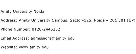 Amity University Noida Address Contact Number