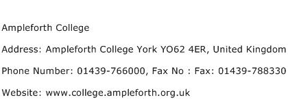 Ampleforth College Address Contact Number
