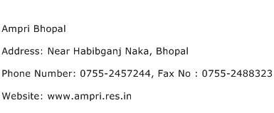 Ampri Bhopal Address Contact Number