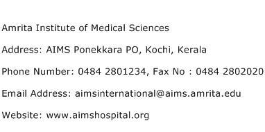 Amrita Institute of Medical Sciences Address Contact Number