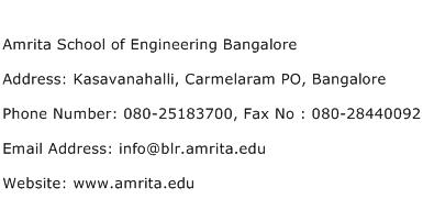 Amrita School of Engineering Bangalore Address Contact Number