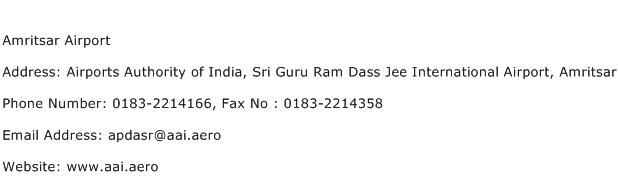 Amritsar Airport Address Contact Number