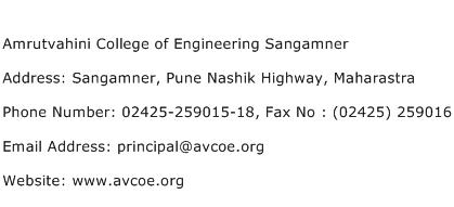 Amrutvahini College of Engineering Sangamner Address Contact Number