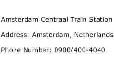 Amsterdam Centraal Train Station Address Contact Number