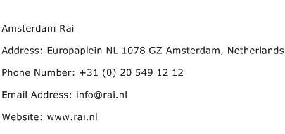 Amsterdam Rai Address Contact Number