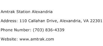 Amtrak Station Alexandria Address Contact Number