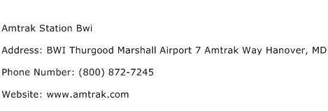 Amtrak Station Bwi Address Contact Number
