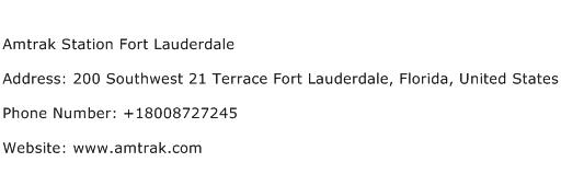 Amtrak Station Fort Lauderdale Address Contact Number
