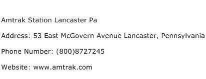 Amtrak Station Lancaster Pa Address Contact Number