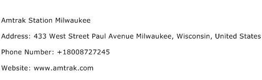 Amtrak Station Milwaukee Address Contact Number
