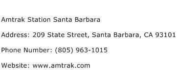 Amtrak Station Santa Barbara Address Contact Number