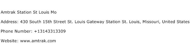 Amtrak Station St Louis Mo Address Contact Number