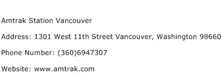 Amtrak Station Vancouver Address Contact Number