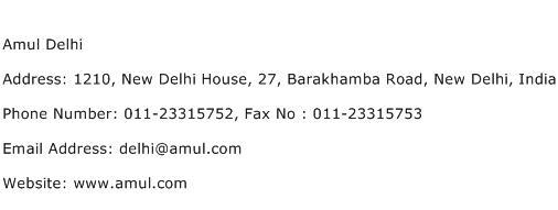 Amul Delhi Address Contact Number