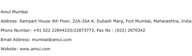 Amul Mumbai Address Contact Number