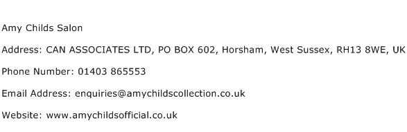 Amy Childs Salon Address Contact Number