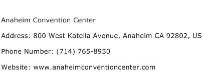 Anaheim Convention Center Address Contact Number