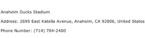 Anaheim Ducks Stadium Address Contact Number