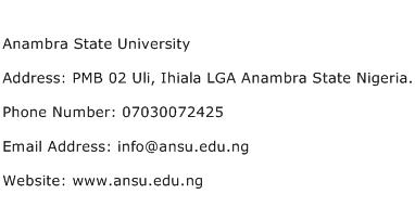 Anambra State University Address Contact Number