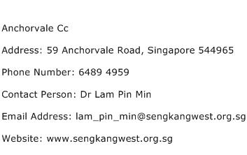 Anchorvale Cc Address Contact Number