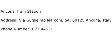 Ancona Train Station Address Contact Number