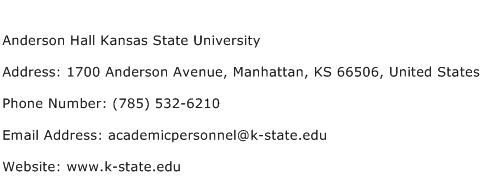 Anderson Hall Kansas State University Address Contact Number