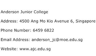 Anderson Junior College Address Contact Number
