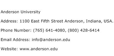 Anderson University Address Contact Number