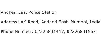 Andheri East Police Station Address Contact Number