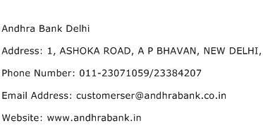 Andhra Bank Delhi Address Contact Number
