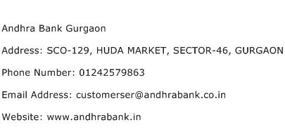 Andhra Bank Gurgaon Address Contact Number