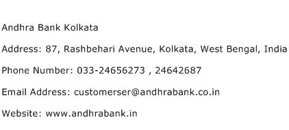 Andhra Bank Kolkata Address Contact Number