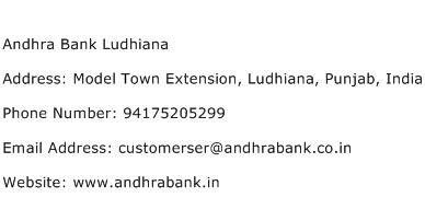 Andhra Bank Ludhiana Address Contact Number