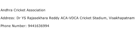 Andhra Cricket Association Address Contact Number