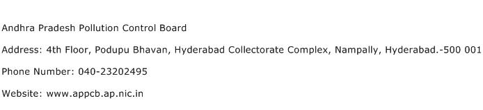Andhra Pradesh Pollution Control Board Address Contact Number