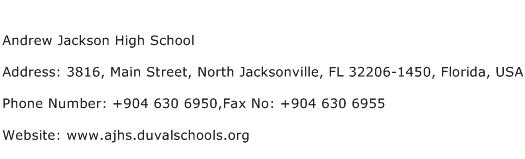 Andrew Jackson High School Address Contact Number