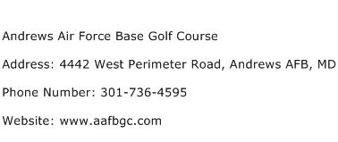 Andrews Air Force Base Golf Course Address Contact Number